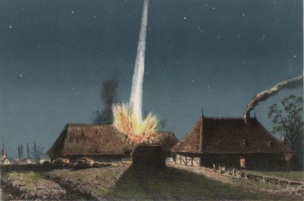 A farmhouse at La Chaux (Saone-et- Loire, France) is struck by a meteorite (fireball) and is instantly set on fire