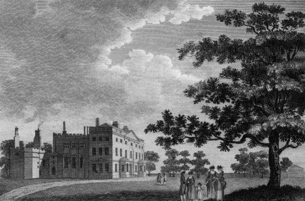 A group of people chat in the grounds of Methley Hall, Yorkshire, the seat of the Earl of Mexborough Date: 1788