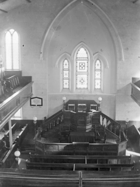 Interior view of the Methodist chapel, St David's, Pembrokeshire, South Wales, showing the pulpit as seen from the upper gallery