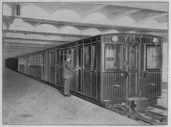 A train at Palais Royal station in the heart of Paris. The coaches are made of varnished wood, highly flammable - leading to serious accidents in years to come