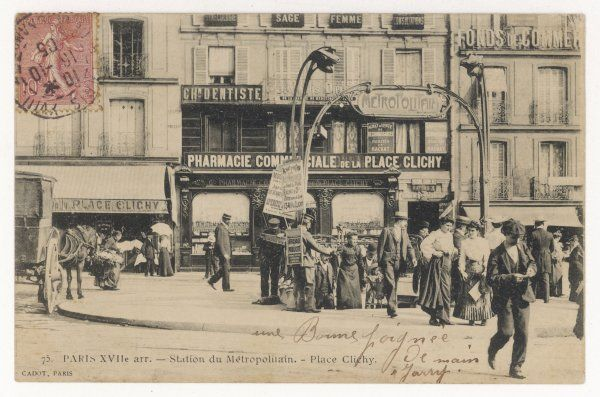 Metro travellers emerge from the station into the bustle of Place Clichy