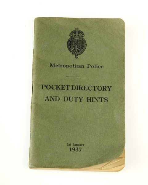 A Metropolitan Police instruction book: Pocket Directory and Duty Hints, dated 1937