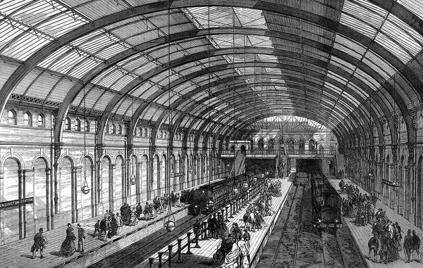Metropolitan Railway western extension, a view of the interior of the Kensington Station