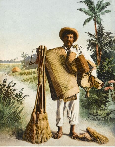 Mexican itinerant brush salesman, also a seller of mats, hand brooms and small bags