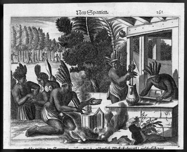 Aztecs preparing a beverage (possibly chocolate or coffee)