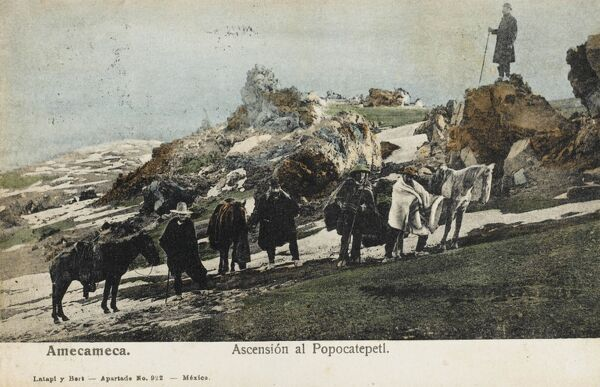 Amecameca, Southern Mexico - some hardy souls and their horses ascend the slopes of the Popocatepetl Volcano