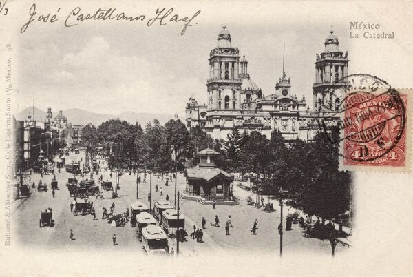 The Mexico City Metropolitan Cathedral - the largest and oldest cathedral in the Americas and seat of the Roman Catholic Archdiocese of Mexico. Date: circa 1905