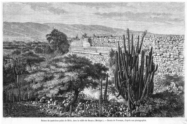 Ruins of the fourth palace of Mitla, in the valley of Oaxaca