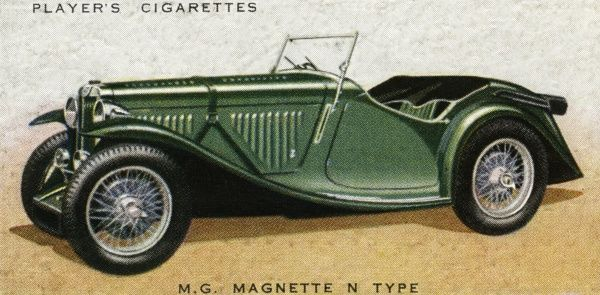 The archetypal sports car popular with fresh air enthusiasts and motorists who value performance : this is the 'N' type. The MG slogan is 'Safety Fast'. Date: 1936