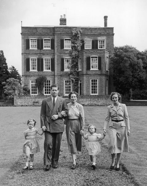 The Ex-King, Michael of Rumania with his family: his wife, Pricess Anne of Boubon Parma, his mother, ex- Queen Helen and two of his three daughters, Margaret and Helen