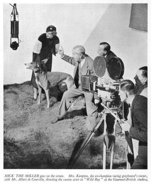 "Mrs Arundel Kempton, owner of the ex-champion greyhound Mick the Miller is pictured with Mr Albert de Courville who is directing the doggy star in the Gaumont-British studio film, ""Wild Boy&quot"