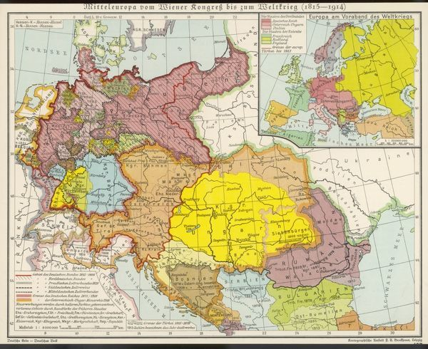 Map of Middle Europe from after the Vienna Congress until the start of World War I (1815 - 1914)