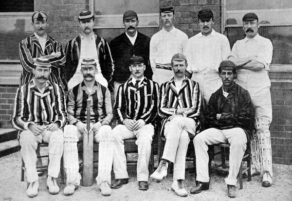 Photograph of the Middlesex County Cricket team for the 1892 season. Back row, left to right: R.S. Lucas, T.C. O'Brien, Phillips, West, Hearne, Rawlin. Front row, left to right: A.E. Stoddart, S.W. Scott, A.J. Webbe (captain), E.A. Nepean, P