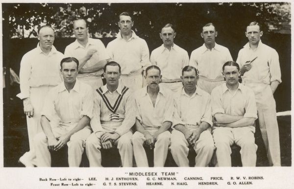 Middlesex Cricket Team, 1930s showing Lee, H.J. Enthoven, G.C. Newman, Canning, Price, R.W.V. Robins, G.T.S. Stevens, Hearne,N. Haig, Hendren, G.O. Allen