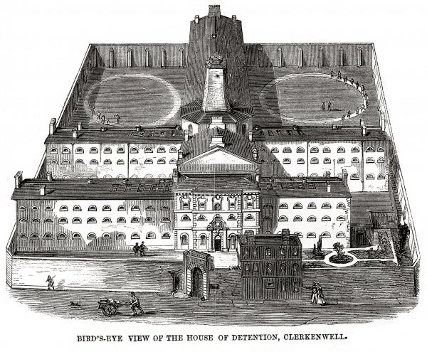 Bird's-eye view of the Middlesex House of Detention at Clerkenwell. Date: 1862