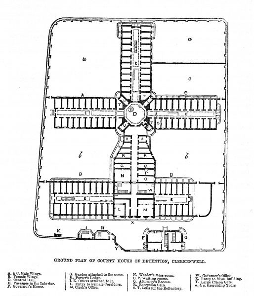 Ground plan of the Middlesex House of Detention at Clerkenwell. Date: 1862