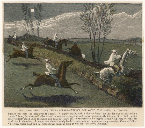 'THE MIDNIGHT STEEPLECHASE' The large field near Biles's Corner - Subden leads over the fence