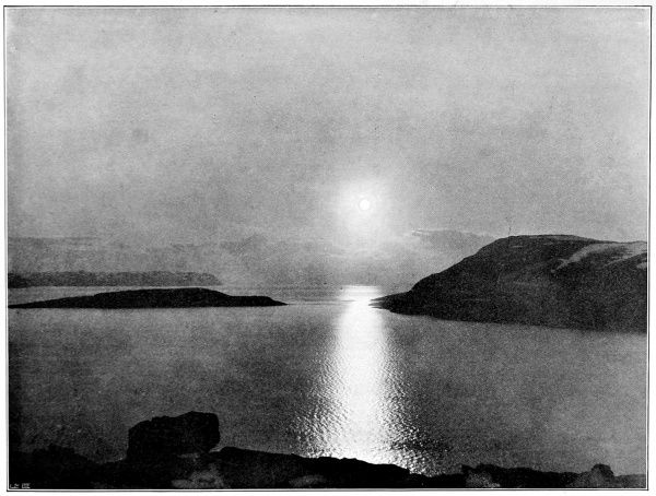 Photograph showing the Midnight sun, as seen from the cliffs near Hammerfest in Norway, the Northernmost town in the world, 1897