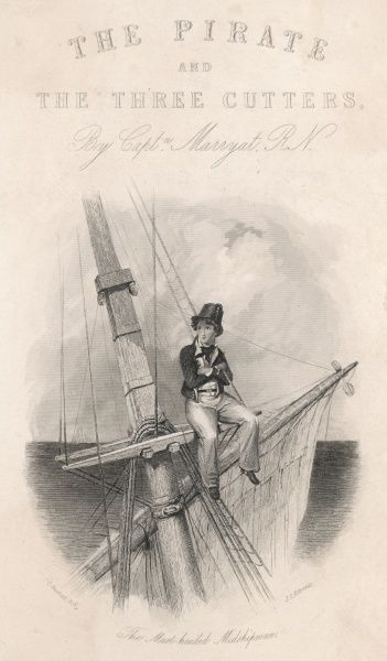 "The Mast-headed Midshipman"". A young man looks moodily out over the sea from the top of a ship's mast"