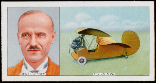 French aircraft designer shown with his very successful 'Pou du Ciel' (= 'Flying Flea')