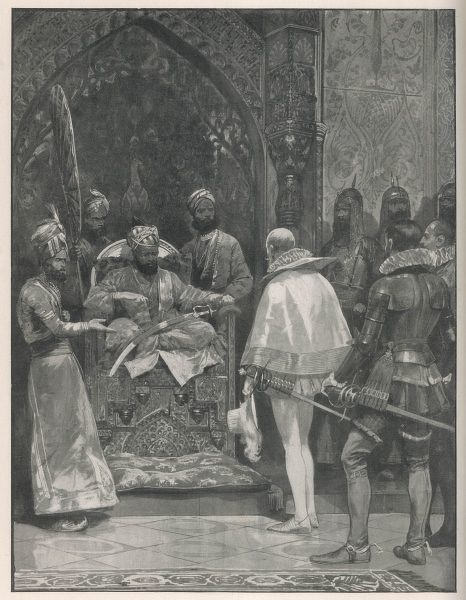 Sir John Mildenhall appears before Moghal Emperor Akbar the Great as an ambassador for Elizabeth I