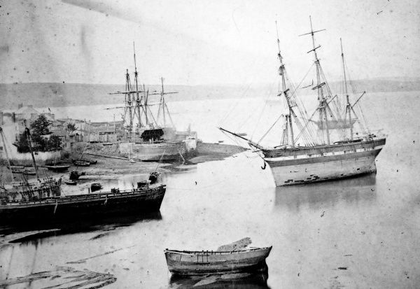 View of the coast at Milford Haven, Pembrokeshire, South Wales, with ships and boats, before the docks were constructed