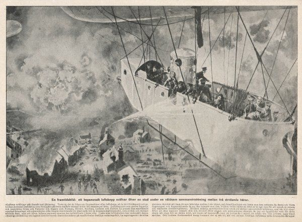 In 1910, it is safe to predict that airships will play a part in a future war. This one is causing immense damage with its bombs, but is being fired upon in its turn