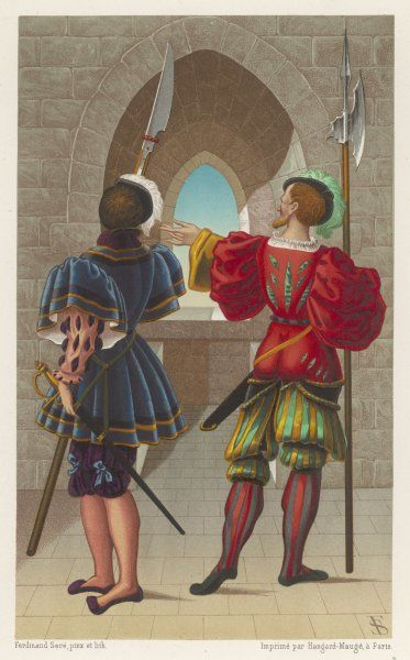 A French guardsman and a Swiss Guard