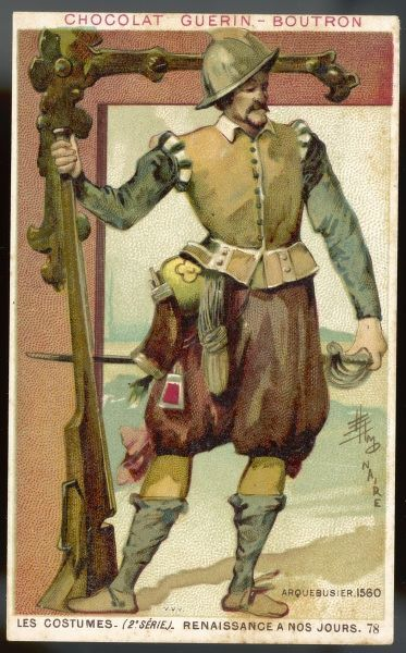 A French rifleman in helmet, tunic, brown breeches, and boots