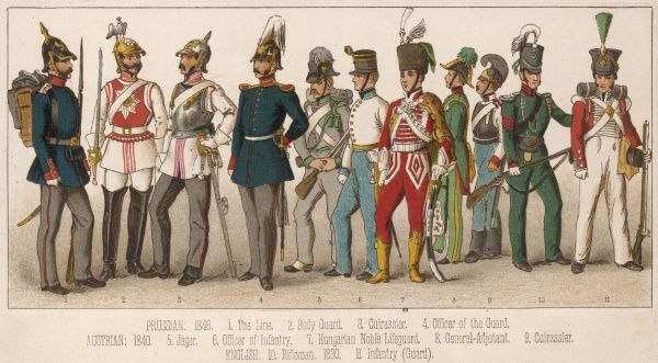 Assorted soldiers: 1-4 Prussian 1846 5-9 Austrian 1840 10-11 English 1830