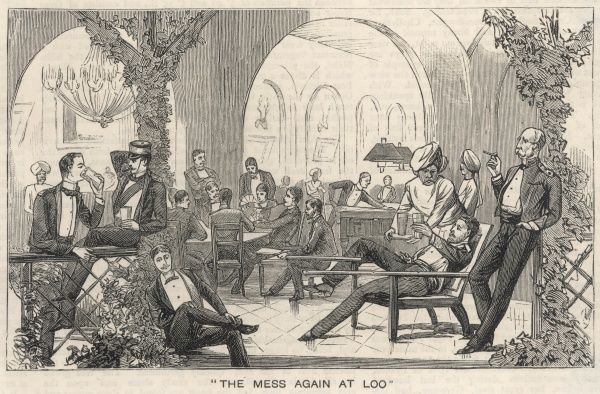 British officers in their mess - men in evening dress relax, talking to one another or reading or playing games, while servants bring them refreshing drinks