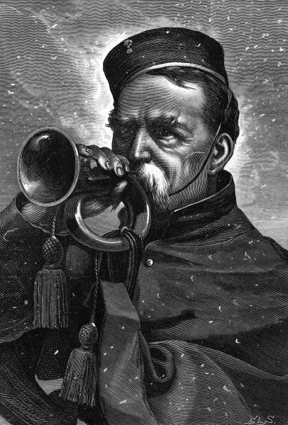An old man sounds a bugle in the snow. 1871