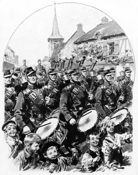 A military band marches through a French town. Date: 1905