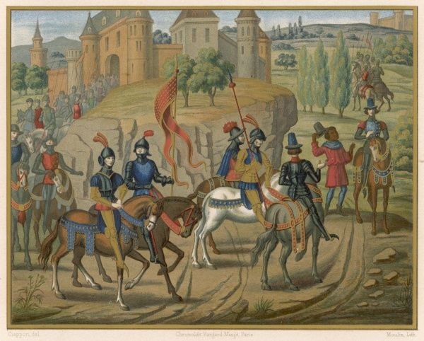 A column of medieval French soldiers accompany Renaud de Montauban and Gerard de Roussillon