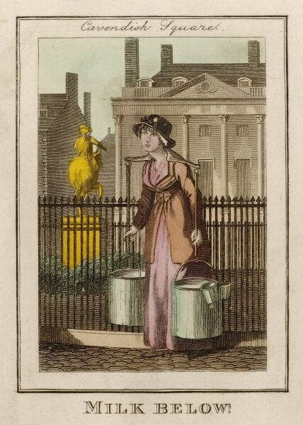 In London's Cavendish Square the milk-woman cries 'Milk below !' to the servants in the basements of the houses