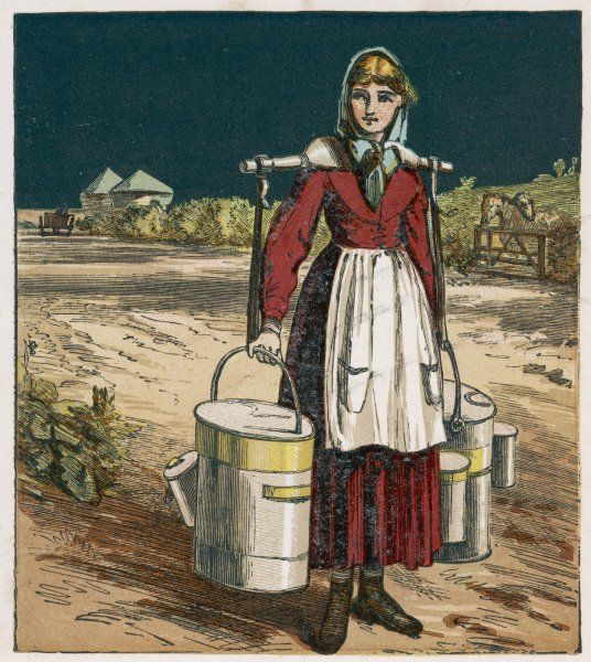 A Victorian milkmaid carrying churns of milk