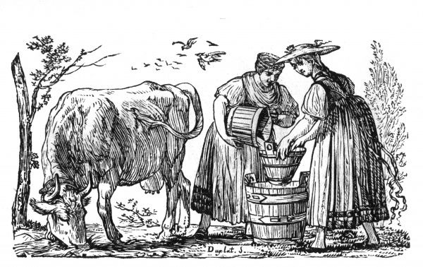 Two milkmaids have milked a cow into a small bucket and now they are emptying the small bucket into a larger one. Date: circa 1820