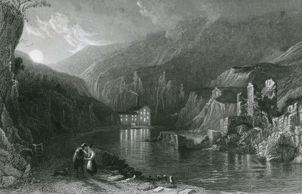 A dramatic view by night of Miller's Dale, in the Derbyshire Peak District Date: 1836