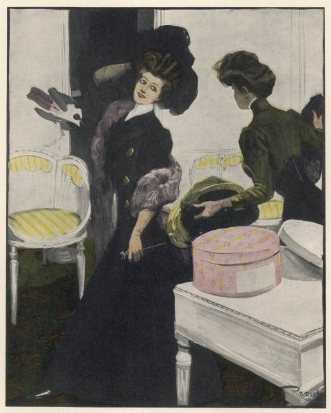 A fashionable woman tries on hats at the milliner's