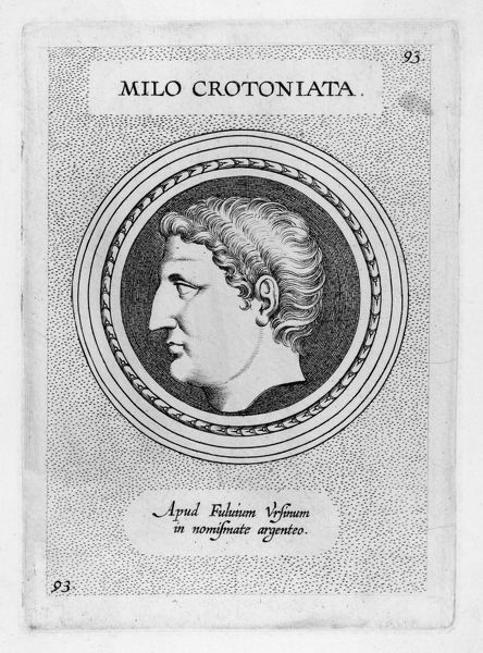 MILO or MILON of CROTONA Greek athlete, renowned for his strength; wrestling champion in the Olympic and Pythian games