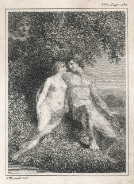 Watched by an angel, Adam and Eve enjoy themselves in Eden before The Fall