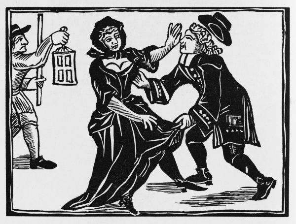 A dissenting parson seeks to see what's beneath the quaker's dress, forcing the frightened lady to call the Watch for help
