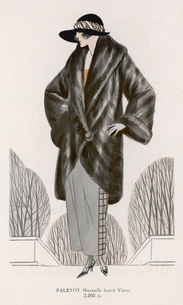A mink coat with rounded front borders, funnel shaped sleeves, a large roll collar & a wrap-over front fastened with one large fur covered button