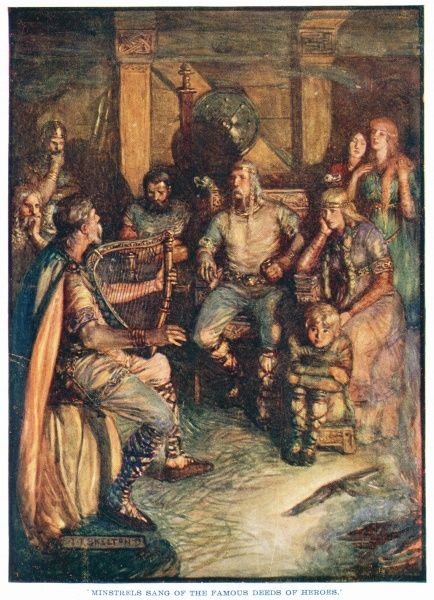 'Minstrels sang of the famous deeds of heroes.' A medieval minstrel with a celtic harp sings stories to a rapt audience of men, women and children
