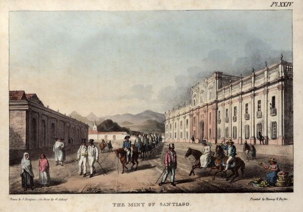 The Mint of Santiago -- street scene in Chile, South America.  1824