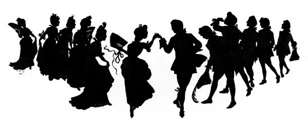 A beautiful silhouette of couples dancing the minuet. Date: 1899