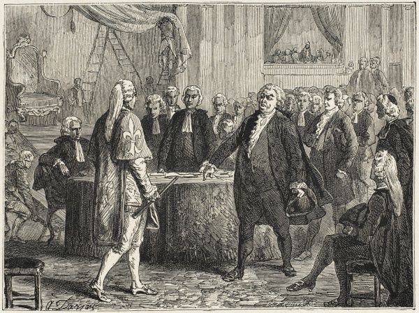 After unsatisfactory session of Etats- generaux, Mirabeau tells official Dreux-Breze the third estate are there by the will of the people, and will be ejected only by force