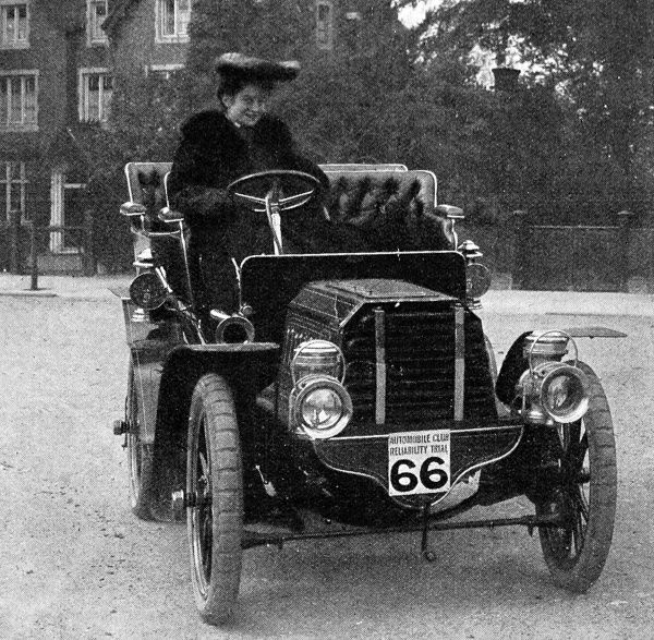 Miss Dorothy Levitt and the 12h.p. Gladiator car which she drove in a series of reliability trials in 1903