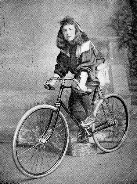 Photograph of Miss Hutton, the youngest member of a team representing England at an International cycling match held at the Royal Aquarium, Westminster, London, 1895