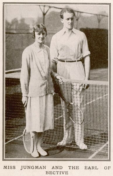 Miss Theresa Jungman & the Earl of Bective posing for a photograph before a tennis match. Known as 'Bunny', Miss Jungman was a renowned socialite and 1920's 'It Girl', connected to the circle of Evelyn Waugh